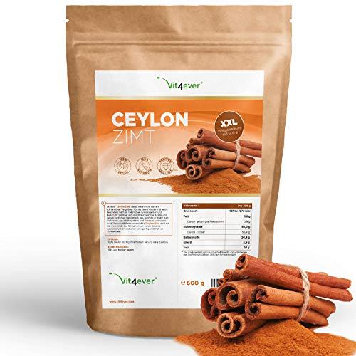 Ceylon Zimt Pulver 600g - Premium: Geringer Cumarin Gehalt - 100% Ceylon-Zimt aus Madagaskar - Laborgeprüft - gemahlen - Zimtbaum - Vegan