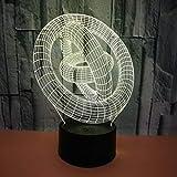 BFMBCHDJ Berührungsschalter Buntes 3D-Licht mit drei Kreisen Led Visuelles Licht Illusionslicht Kreatives abstraktes 3D-Nachtlicht A2 Weiße Rissbasis