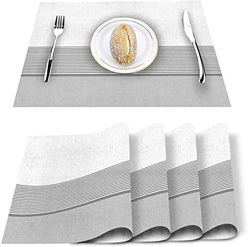 Store Stripe White Grey Pattern Set de 4 Sets de Table, PVC résistant à la Chaleur Set de Table Lavable antidérapant pour Banquet de Vacances Table de Cuisine à Manger - Lot de 4