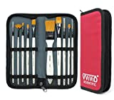 VViViD White Enamel Synthetic Red Sable 10 Assorted Short Handle Paint Brush Set Including Nylon Carrying Case
