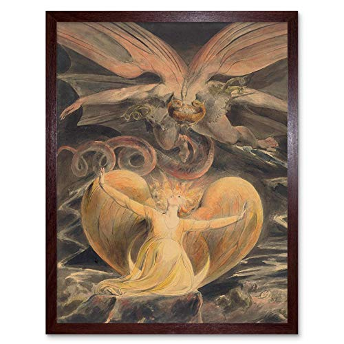 Wee Blue Coo William Blake British Great Red Dragon Woman Clothed Sun Artwork Art Print Framed Poster Wall Decor Kunstdruck Poster Wand-Dekor-12X16 Zoll