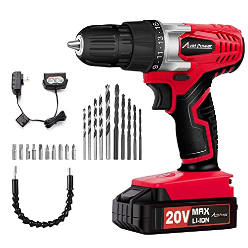 AVID POWER 20V MAX Lithium lon Cordless Drill, Power Drill Set with 3/8 inches Keyless Chuck, Variable Speed, 16 Position and 22pcs Drill Bits (Red)