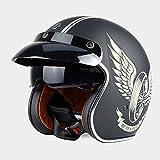 Sunzy Casco de Moto Harley, Casco de Moto Abierto Unisex Retro para Adultos con certificación de Lentes Ocultas/Dot,XL