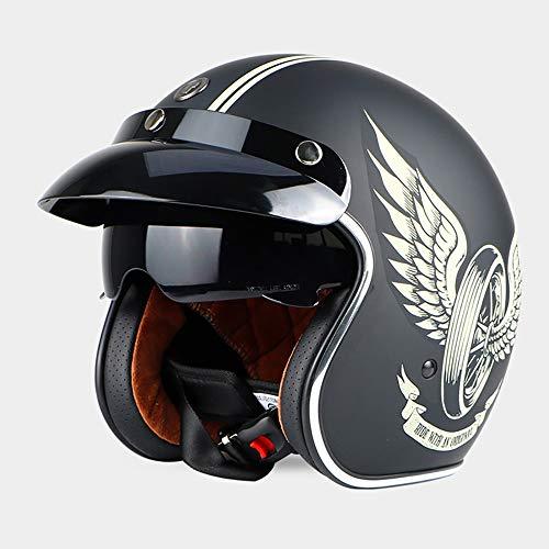 Sunzy Casco de Moto, Casco de Moto Abierto Unisex Retro para Adultos con certificación de Lentes Ocultas/Dot,XL