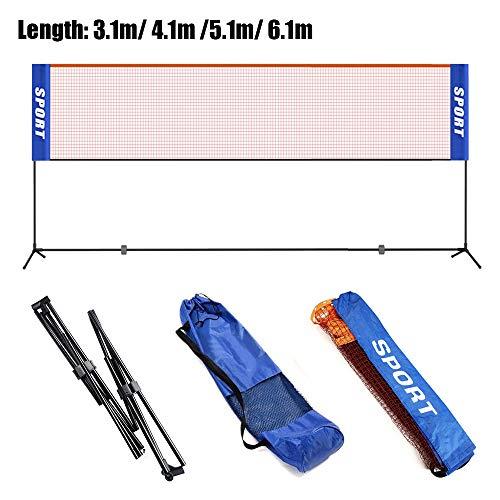 KIKILIVE Filet de Badminton, Filet de Volley-Ball de Tennis de Badminton Pliable réglable de 3 m / 4 m / 5 m / 6 m...