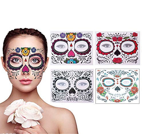 4 Pack Day of The Dead Sugar Skull Face Temporary Tattoo Halloween Makeup Tattoo Stickers for Halloween Masquerade Party(Floral, Red Roses,Black and Floral Skeleton)