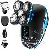 Rasierer Herren Elektrisch OriHea Glatzen Rasierer 5 IN 1 Trockenrasierer Herren LED-Display Präzisionstrimmer Bartschneider Nass &Trockenrasierer IPX7 Wasserdicht (Blau)