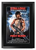 HWC Trading Poster, Motiv: First Blood Sylvester Stallone Rambo, mit Autogramm & Autogramm, für Film-Fans, gerahmt, A3