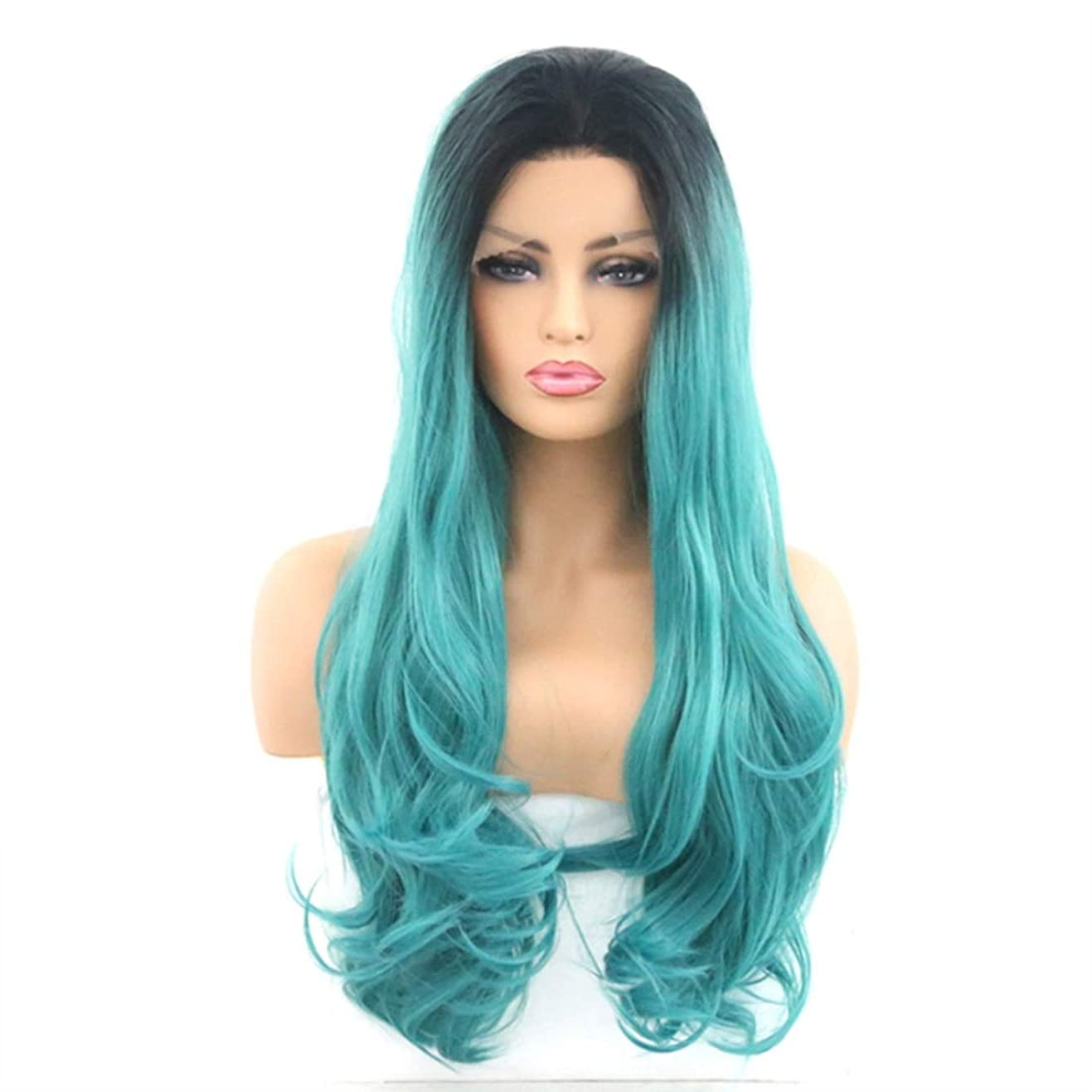 香り夕方症候群Summerys 女性のためのフロントレースかつら、長い巻き毛、大きな波、巻き毛、化学繊維かつら (Size : 16inch)