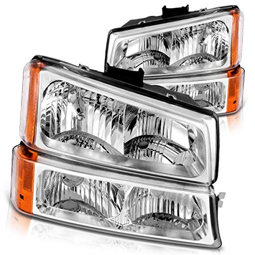 DWVO Headlight Assembly Kit Replacement Compatible with 2003-2006 Chevy Avalanche/ 2003-2007 Chevy Silverado 1500HD/2500HD, Front Signal Light Included (Not Fit Body Cladding Models)