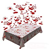 Jashem Halloween Table Cover Tablecloth Handprints Bloodstained Decals Set of 3 and Bloody Props Weapons Banners for Horror Hospital Theme Halloween Party Vampire Zombie Party Decorations