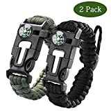 Paracord Survival Bracelet–Survival Gear Kit with Embedded Compass, Fire Starter, Emergency Knife
