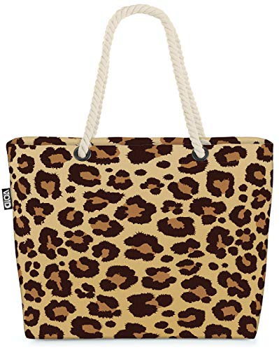 VOID Leopardo Leo-impresión patrón Bolsa de Playa 58x38x16cm 23L Shopper Bolsa de Viaje Compras Beach Bag Bolso