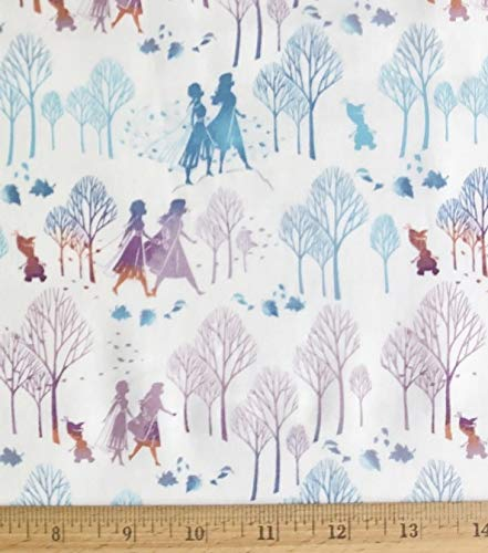 """Pack of 2 - Disney Frozen Friends Silhouette on White Cotton Fabric - Elsa Anna & Olaf - 18"""" x 22"""" Fat Quarter (Pack of 2)"""