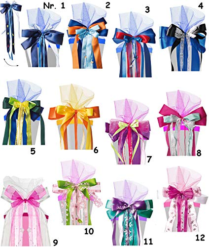 Belldessa für Schultüten - große 3-D Schleife -  violett / lila - grün & pink  - 24 cm breit u. 55 cm lang - mit edlen Satin Bändern, Tüll & Perlenband - für Geschenk..
