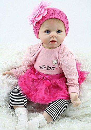ZIYIUI 22zoll-55cm Reborn Baby Mädchen Anatomisch korrekte Babypuppen Reborn Baby Toddler Vinyl Silikon Body Girl Puppe mit Kleidungsset und Dummy Set Spielzeug