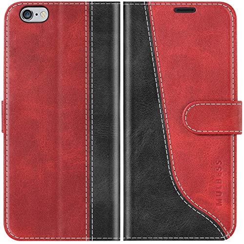 Mulbess Handyhülle für iPhone 6s Hülle, Handy iPhone 6 Hülle, Handy iPhone 6s Hülle, Leder Flip Etui Handytasche Schutzhülle für iPhone 6s Case, Wine Rot