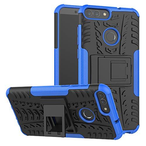 LiuShan Huawei P Smart Hülle, Dual Layer Hybrid Handyhülle Drop Resistance Handys Schutz Hülle mit Ständer für Huawei P Smart 2018 (Not fit Huawei P Smart 2019) Smartphone,Blau