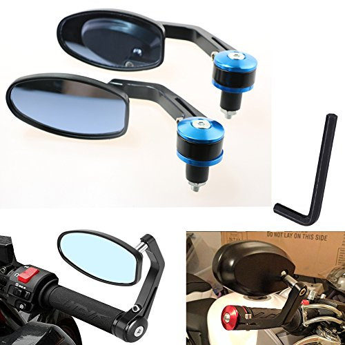 KATUR Motorcycle Rearview Mirror Blue 7/8 Inch 22MM Aluminum Alloy Round Shaped Universal Motorcycle Handlebar Rear View Side Mirrors for Yamaha Honda Triumph Ducati Suzuki