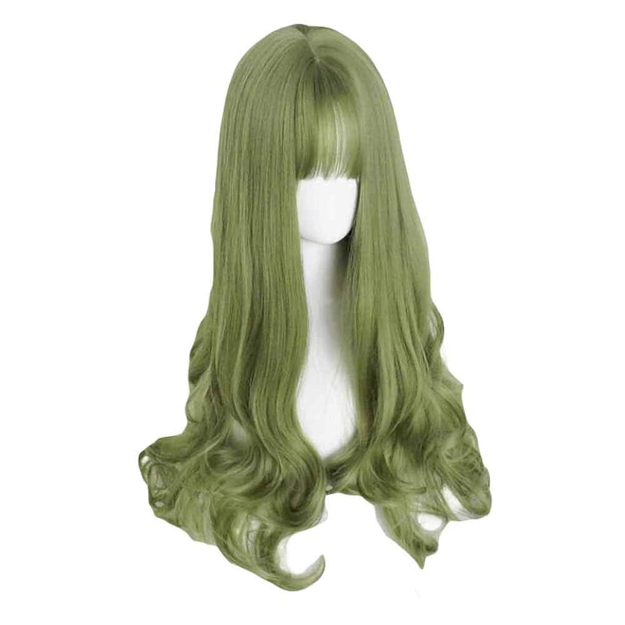 十分ではない裁量球状65 cmグリーンフルウィッグロングカーリーウェーブ合成ヘアウィッグコスプレウィッグコスチューム
