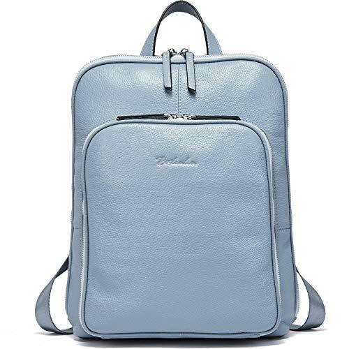 BOSTANTEN Leder Rucksack Damen Schulrucksack Reiserucksack Tagesrucksack Casual Backpack Daypacks Hellblau