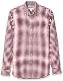 Marca Amazon - Goodthreads - Camisa cómoda de popelín elástico con manga larga, corte entallado, y de cuidado fácil, para hombre, Burgundy Gingham, US L (EU L)
