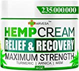 Natural Hemp Cream for Joints, Back, Neck, Elbows with Hemp + Turmeric + Arnica | Natural Hemp Oil Extract Gel - Made in the USA - 4oz