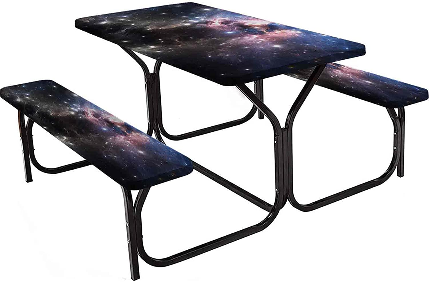 Constellation Tablecloth Rectangular Fitting Cover Table, Giant Nebula in Vivid Colors Space Motion Supernova Futuristic, 3-Piece Set, Camping and Picnic 72