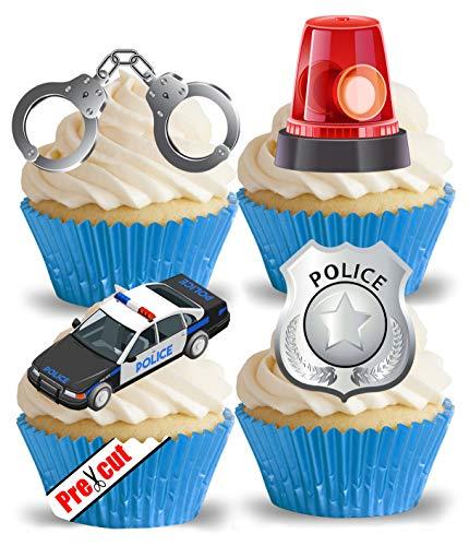 Essbare Reispapier-Oblaten, Motiv: Polizeiauto und Zubehör, vorgeschnitten, für Cupcakes, Kuchen, Dessert, Party, Geburtstag, Dekoration
