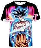 HAOSHENG Niño Dragon Ball Goku Super Saiyan Camiseta Hip Hop 3D Super Saiyan Cosplay T-Shirt(S)