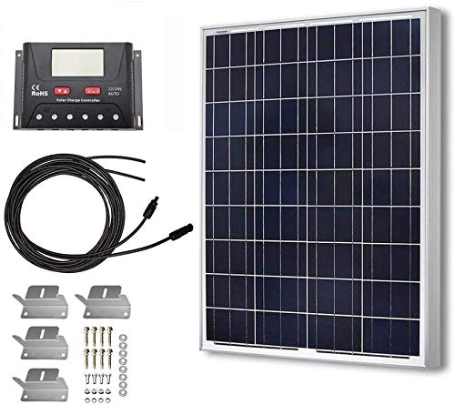 HQST 100 Watt 12 Volt Polycrystalline Solar Panel Kit with 30A Common Positive-Ground PWM LCD Display Charge Controller, 20FT 12AWG Cable, Z Bracket
