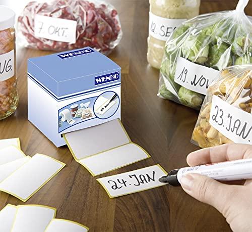WENKO Haftetiketten 500 Stück, mit Dispenser - 500 Stück, mit Dispenser, Papier, 7 x 7 x 7 cm, Weiß