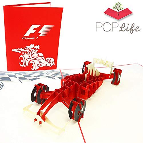 PopLife-Formel-1-Auto-Popup-Karte für alle Anlässe - Geburtstag, Glückwunsch, Ruhestand, Arbeitsjubiläum, Vatertag - Rennwagenfahrer, F1, Ferrari - Flach gefaltet für Mailing