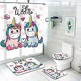 Fgolphd Einhorn Duschvorhang 180x200180x180 Cartoons Rosa Einhorn Bunt Badezimmerteppich 4-teiliges Set, Shower CurtainsWasserdicht Duschvorhang (180 * 180,2)