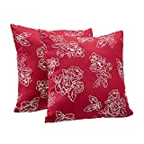 AmazonBasics 2-Pack Textured Weave Decorative Throw Pillows - 18' Square, Classic Red Floral