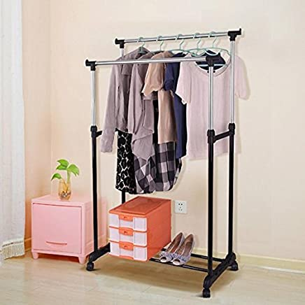 Yaheetech Heavy Duty Stainless Steel Portable Adjustable Double Garment Hanging Rail Clothes Rack with Wheels