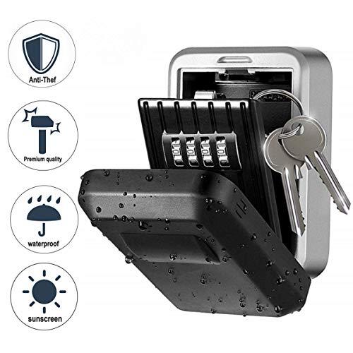 Qdreclod Schlüsseltresor für Wandmontage Schlüsselsafe mit Individuell Einstellbarem Zahlencode Wetterfeste Schlüsselbox für Haus Garage Büro (A)