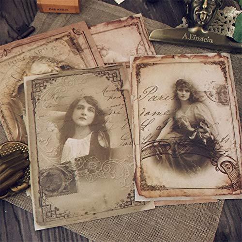 PMSMT 8 Hojas Vintage Victorian Girl Stickers Etiqueta de Estilo de página de Libro Antiguo para Diario Scrapbooking Ablum Sticker papelería Pegatinas
