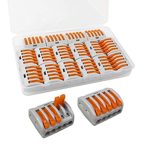 FULARR 16Pcs Premium PCT-215 Resorte Conector Bloque Terminal, Conector Conductor Compacto, Rápido Cable Conector Bloque Terminal –– 5 Puertos