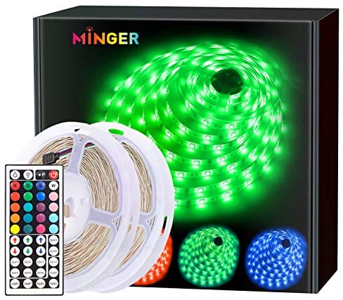 MINGER LED Strip Lights 10m, RGB Color Changing LED Strip Lights Full Kit with Remote for Home Kitchen Bedroom Bar Decoration [Energy Class A]