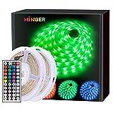 MINGER LED Strip Lights 32.8ft, RGB Color Changing LED Lights for Home, Kitchen, Room, Bedroom, Dorm Room, Bar, with IR Remote Control, 5050 LEDs, DIY Mode