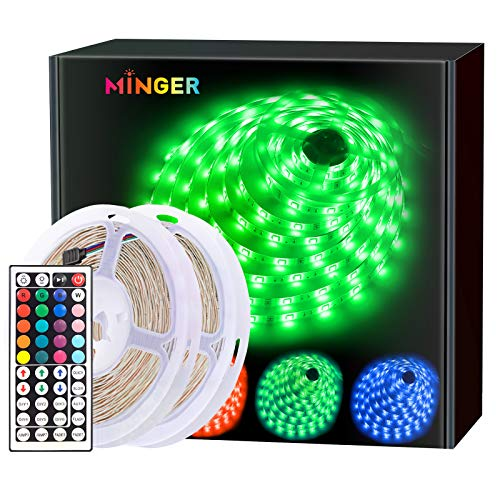 MINGER LED Strip Lights Kit 32.8ft, RGB Color Changing LED Lights for Room, Bedroom, Home, Kitchen Cabinet, Party Decoration, with IR Remote, 5050 LEDs, DIY Mode, Non-Waterproof (2 Rolls of 16.4ft)