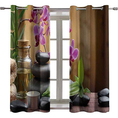 Opehodecor Spa Custom Drapery Warm Welcoming Spa Reception Big Healing Stones Candles Scent Flowers Print Print Blackout Curtains Thermal Insulated 63 x 63 inch