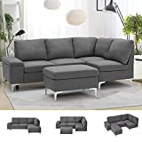 Esright Right Facing Sectional Sofa with Ottoman, Convertible Sectional Sofa...