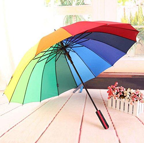 GTWP GTWP GT Regenschirm Automatik Mode 3 Folding Umbrella groß, 16 Knochen, Gradient Farbe Rainbow Dach kreative Stockschirm Robuste Winddicht Anti-UV-Sonnenschutz Dach