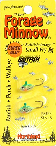 Northland Tackle Forage Minnow #8 Fry Fishing Jig, Super-Glo Perch