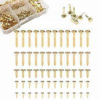 Kingsie 割りピン ゴールド 500個セット 5サイズ 割鋲 留め具 ケース付き スクラップブック カード作り クラフト 手芸