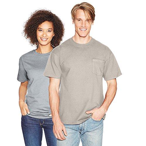Hanes mens BeefyT 100% Cotton TShirt with Pocket(5190)-Purple-M