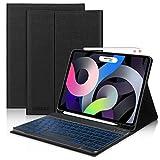 Teclado para iPad Air 4 2020, DINGRICH Español Ñ Funda con Teclado 7 Color Retroiluminación Bluetooth Inalámbrico Desmontable Extraíble para iPad Air 4 10.9'/iPad Pro 11' 2020/2018 Auto-Sueño/Estela