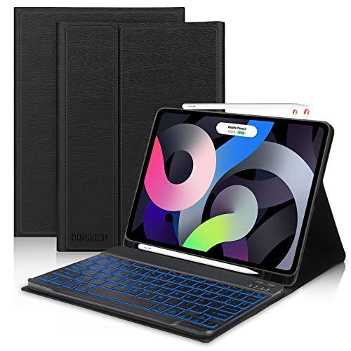 Teclado para iPad Air 4 2020, DINGRICH Español Ñ Funda con Teclado 7 Color...